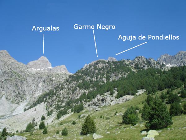 Vistas del Garmo negro y Argualas desde la Mallata Baja