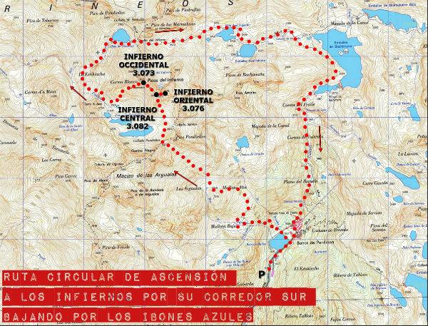 Mapa de la ruta circular a los Infiernos bajando por Ibones Azules