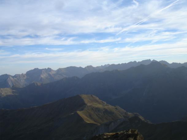 Vistas del Pirineo desde la tercera chimenea